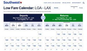 Southwest Low Fare Calendar